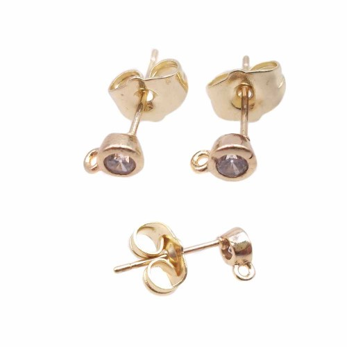 Orecchini a Perno | Orecchini a perno ottone oro con cristallo trasparente 4.4 mm 2 pz - kj5