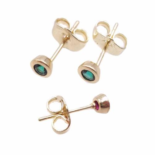 Orecchini a Perno | Orecchini a perno ottone oro con cristallo verde 4.4 mm 2 pz - kj7