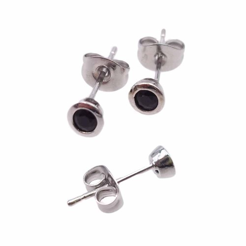 Orecchini a Perno | Orecchini a perno ottone rodiato con cristallo nero 4.4 mm 2 pz - kj2