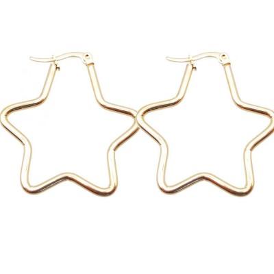 Orecchini acciaio d'orato stella oro 43 mm pacco 2 pezzi