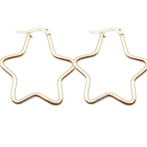 Basi Orecchini Acciaio | Orecchini acciaio d orato stella oro 43 mm pacco 2 pezzi - stel45mm