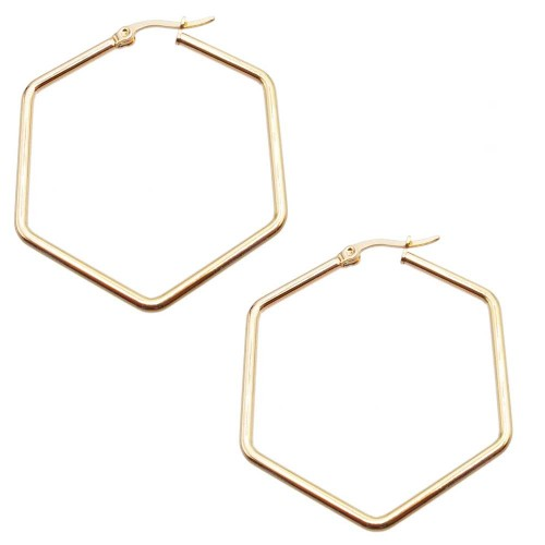 Basi Orecchini Acciaio | Orecchini acciaio oro pentagono 44x39 mm pacco 2 pezzi - pent40m