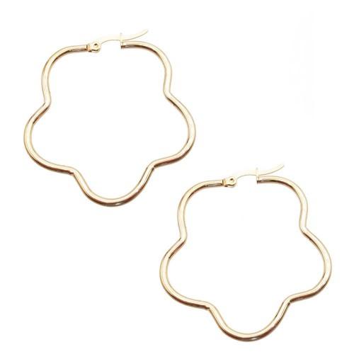 Basi Orecchini Acciaio | Orecchini in acciaio fiore oro 44 mm pacco 2 pezzi - fi40m1