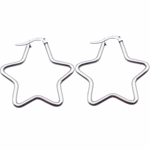 Basi Orecchini Acciaio | Orecchini in acciaio stella 32 mm pacco 2 pezzi - orest32