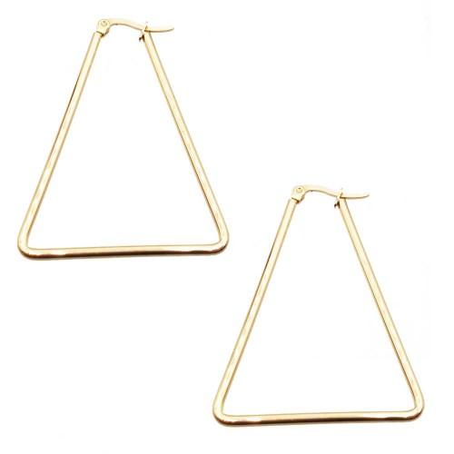 Basi Orecchini Acciaio | Orecchini in acciaio triangolo oro 43x37 mm pacco 2 pezzi - tri43m