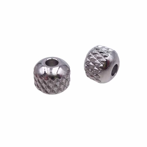 Palline In Acciaio | Palline in acciaio 6x5.4 mm foro 2 mm pacco 10 pz - yh15