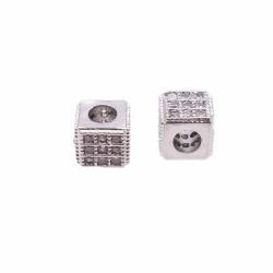 Cubetto metallo CZ argento 5x4.3 mm pacco 1 pz