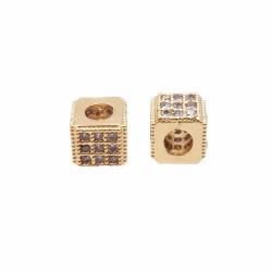 Cubetto metallo CZ oro 5x4.3 mm pacco 1 pz