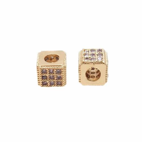 Palline Metallo Cz | Cubetto metallo CZ oro 5x4.3 mm pacco 1 pz - cz00abk