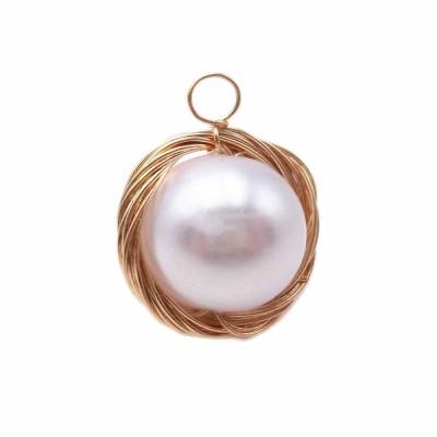 Pendente in ottone dorato con perla in resina 17 mm pacco 1 pz