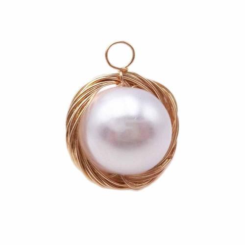Pendenti Vari | Pendente in ottone dorato con perla in resina 17 mm pacco 1 pz - cq3