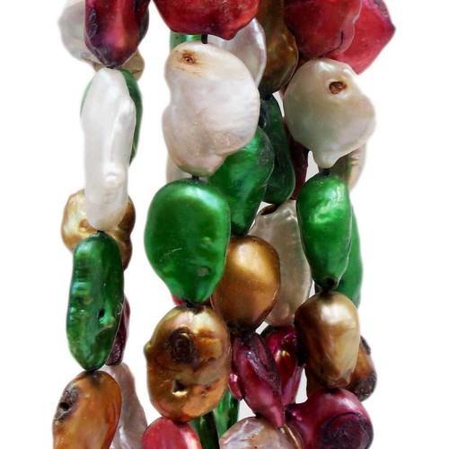Perle Di Fiume | Perle di fiume grezze irregolari allungate 14/20 mm colorate filo 40 cm - coloe99tt