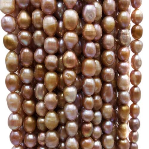 Perle Di Fiume   Perle di fiume ovali 7/8 mm riflessi oro bronzo filo 35 cm - ov78mm11
