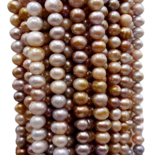 Perle Di Fiume   Perle di fiume potato riflessi oro e bronzo 7.5/8 mm filo 35 cm - pot67gg6