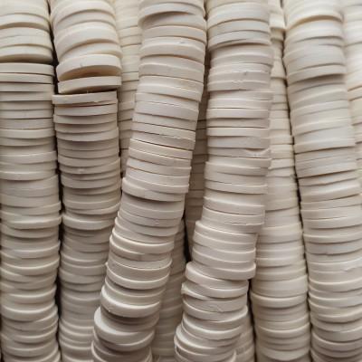 Perline Heishi pasta polimerica bianche 8 mm filo 40 cm