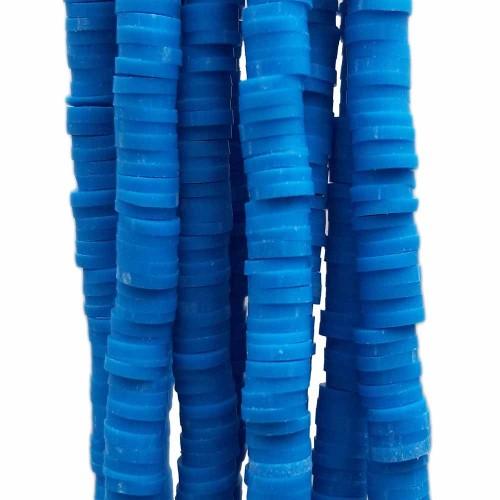 Perline Heishi pasta polimerica | Perline Heishi pasta polimerica blu 6.4 mm filo 40 cm - he192b
