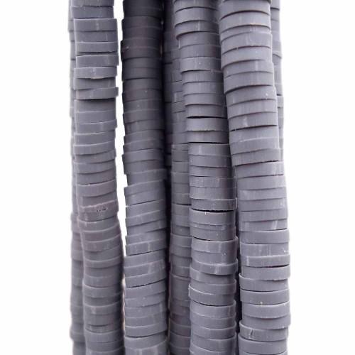 Perline Heishi pasta polimerica | Perline Heishi pasta polimerica grigio scuro 5 mm filo 40 cm - fio51hgy