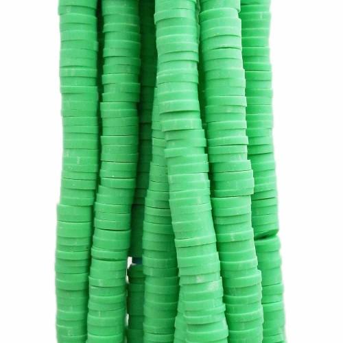 Perline Heishi pasta polimerica | Perline Heishi pasta polimerica verde fluo 4.5 mm filo 40 cm - he19v33