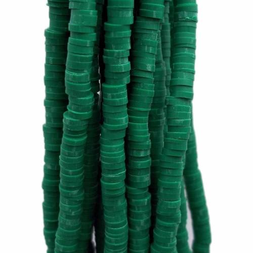 Perline Heishi pasta polimerica | Perline Heishi pasta polimerica verdi fluo 4.5 mm filo 40 cm - he192ver
