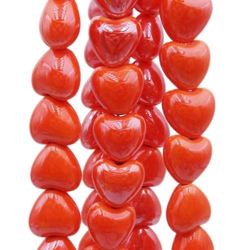 Perline In Ceramica | Cuori in ceramica arancio 12.5x11.5 mm filo 30 cm - ara446gg