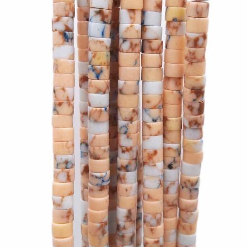 Heishi | Pietre dure heishi rondelle diaspro impression pesca chiaro 4x2.5 mm filo 40 cm - heila20