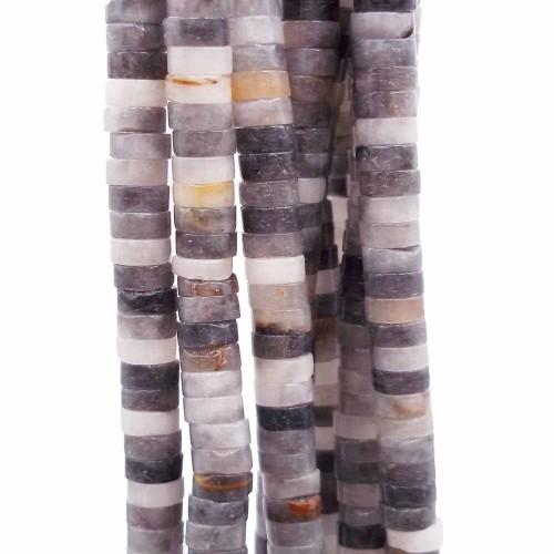 Heishi | Pietre dure Heishi agata grigia colorata rondelle 4x2.5 mm filo da 40 cm - gi44grig