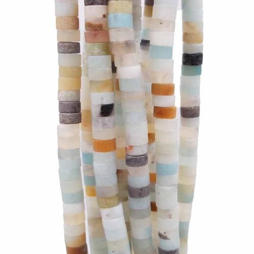 Heishi | Pietre dure Heishi amazzonite colorata rondelle 4x2.5 mm filo da 40 cm - amahhi1