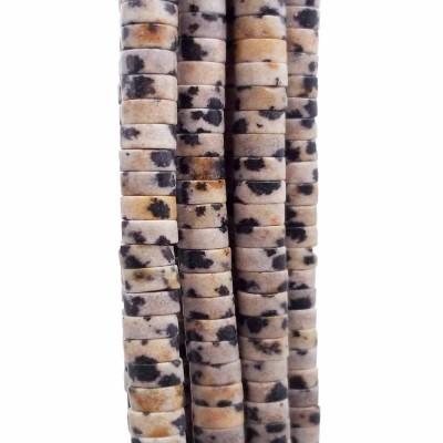 Pietre dure Heishi diaspro dalmata rondelle 4x2.5 mm filo da 40 cm