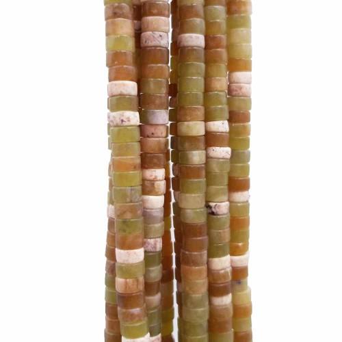 Heishi | Pietre dure Heishi giada verde colorata rondelle 4x2.5 mm filo da 40 cm - giac003a