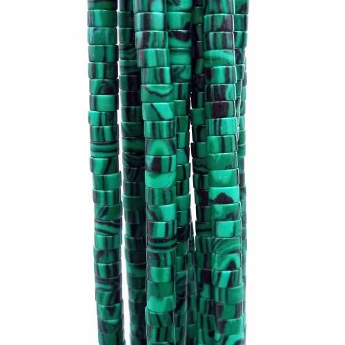 Heishi | Pietre dure Heishi malachite rondelle 4x2.5 mm filo da 40 cm - gi44mal