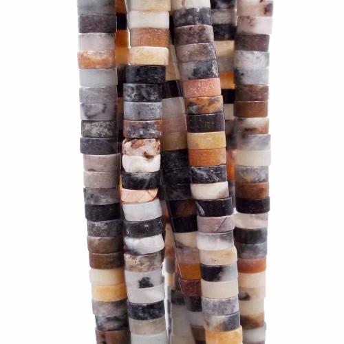 Heishi | Pietre dure heishi rondelle amazzonite colorata 4x2.5 mm filo da 40 cm - heiq18am