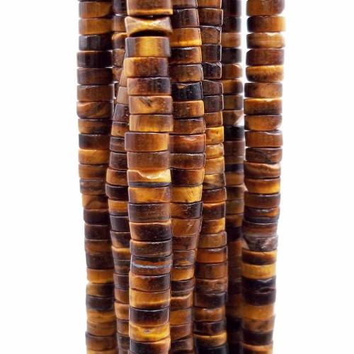 Heishi | Pietre dure heishi rondelle occhi di tigre 4x2.5 mm filo da 40 cm - heiq1tig