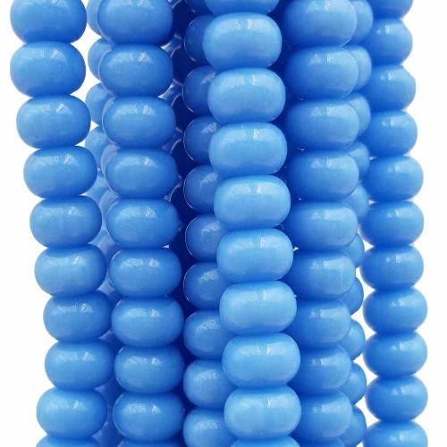 Perline Rondelle in Vetro | Perline rondelle in vetro azzurre 8x4.5 mm filo 40 cm - azz448n