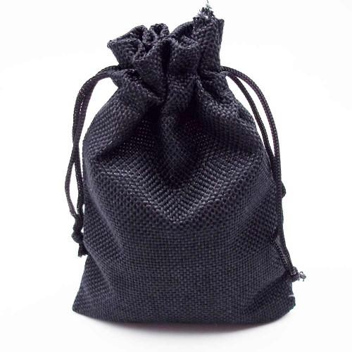 Sacchetti Regalo Juta | Sacchetto juta nero 140x98 mm pacco 1 pezzo - sj03