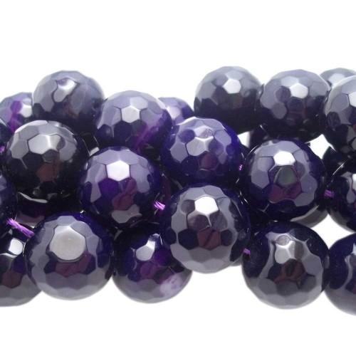 Agata Striata | Agata viola striata tonda sfaccettata 15,5 mm 4 pezzi - ags01