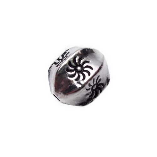 Distanziatori In Argento Tibetano | OLIVA 6 LATI 11x9 MM DECORATA PACCO 1 PZ - Tr082