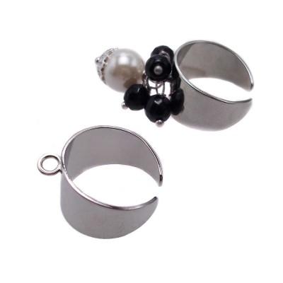 Base anello in ottone argento regolabile pacco 1 pz