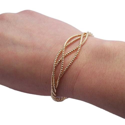 Basi Per Bracciali | Bracciale diamantato in ottone placcato oro 63 mm 1 pezzo - br0r65