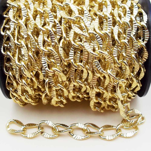 Catene Alluminio | Catena alluminio maglia ovale intagliata oro 16x11 mm 50 cm - na21
