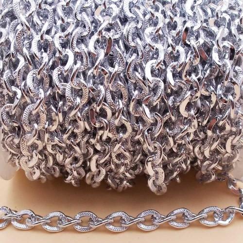 Catene Alluminio | Catena in alluminio intagliata argento 8X6 mm pacco 1 metro - na23