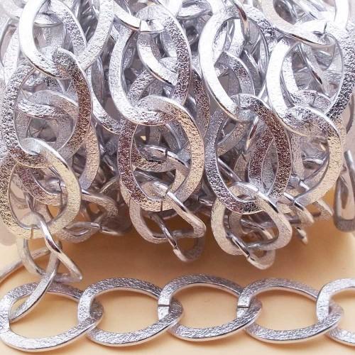 Catene Alluminio | Catena in alluminio maglia ovale argento 33x25 mm 50 cm - na19