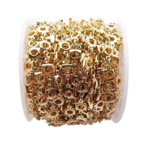 Catene In Ottone | Catena in ottone quadrata oro 5 mm pacco 50 cm - cto01