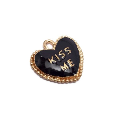 Charms Smaltati | CHARMS CUORE NERO   SCRITTA KISS ME   18 MM 1 PZ - CHA02/2