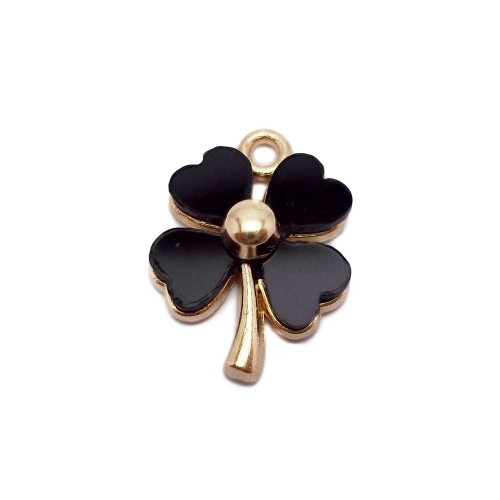 Charms Smaltati | CHARMS QUADRIFOGLIO NERO 19X14 MM 1 PZ - QF02