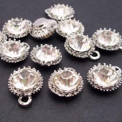 Ciondolo strass 14 mm argento pacco 10 pezzi