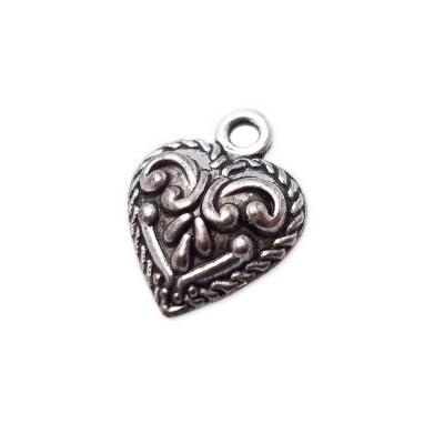 Charms cuore decorato 15x12 mm pacco 10 pezzi