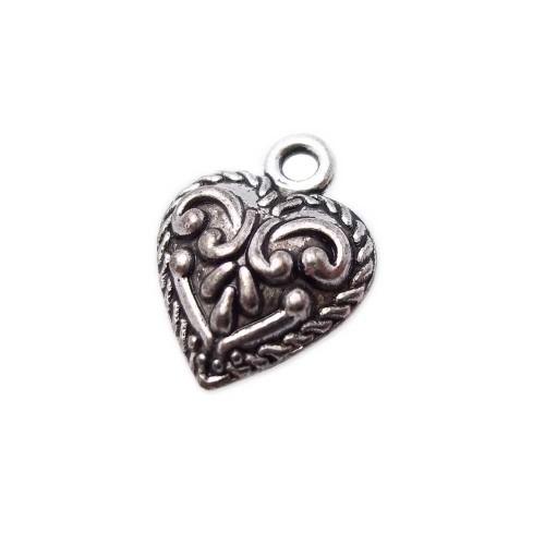 Charms In Metallo | Charms cuore decorato 15x12 mm pacco 10 pezzi - fb0707