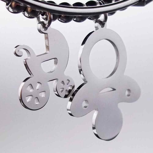 Ciondoli In Acciaio | Charms Carrozzina acciaio 19 mm pacco 1 pezzo - Pp001