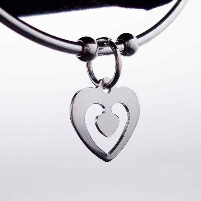 Charms in acciaio cuore 13 mm pacco 2 pezzi