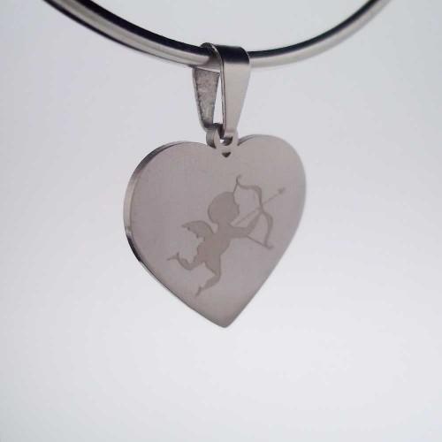 Ciondoli In Acciaio | Charms acciaio cuore cupido 18 mm 1 pezzo - Cz104
